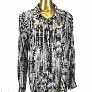 Holding Horses Button Down Rayon Shirt Size 8